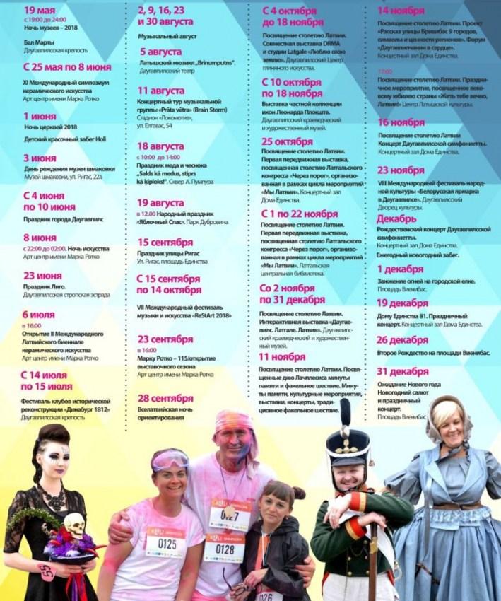 Список главных мероприятий в Даугавпилсе в 2018 году