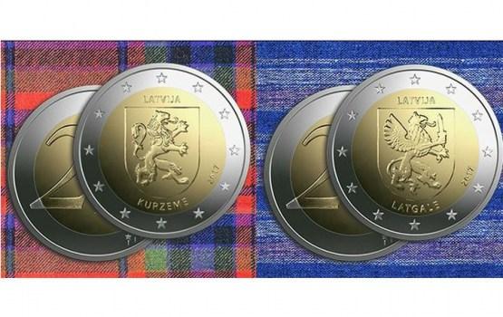 Банк Латвии выпустит новые монеты достоинством два евро, посвященные Курземе и Латгале