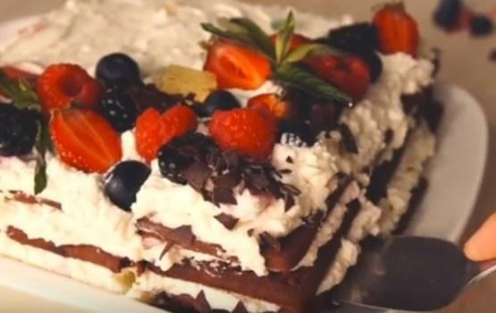 Пирог из шоколадного печенья и творога без выпечки на cкорую руку